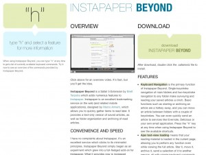 Screenshot of the Instapaper Beyond microsite