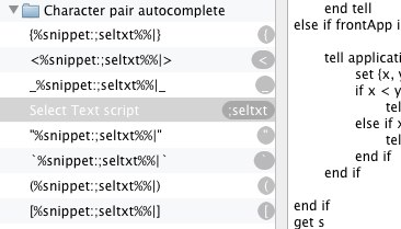 Screenshot of the Auto Pair group in TextExpander