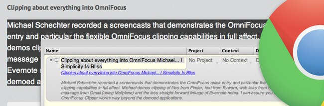 OmniFocus clipping from Chrome