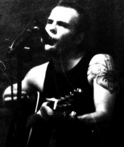 Black and white picture of an acoustic performance